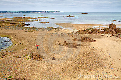 Offshore the Jersey, UK, coast at low tide