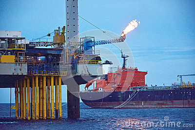 The offshore oil rig in early morning