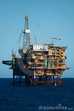 Offshore  oil rig with helicopter
