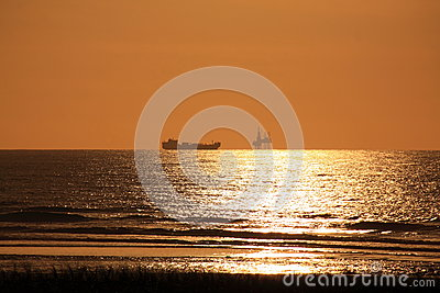 Offshore oil rig and ocean ship