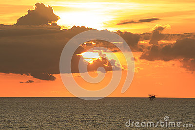 Offshore Production Platform in Sunset Time