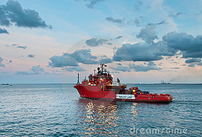 Offshore rescue vessel sailing out