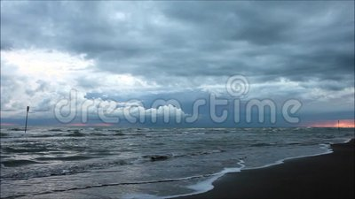Offshore thunderstorm stock footage