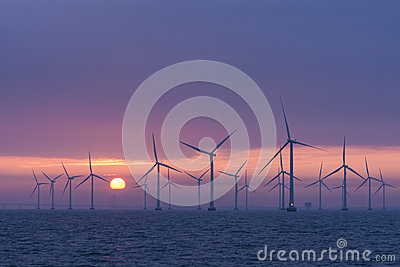 Offshore windfarm Lillgrund daybrake, Sweden