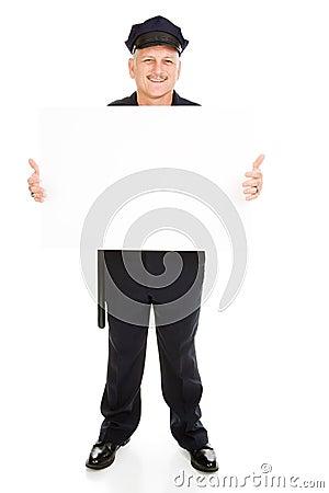 Oficial de polícia com sinal