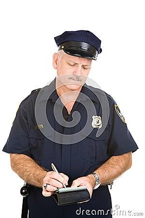 Oficial de polícia - bilhete de estacionamento