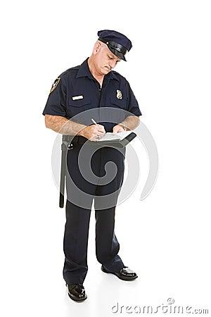Oficial de polícia - corpo cheio da citação