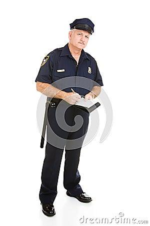 Oficial de policía en el trabajo