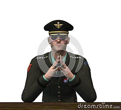 Oficial del ejército - reflexionando