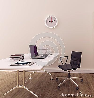 Oficina interior moderna mínima