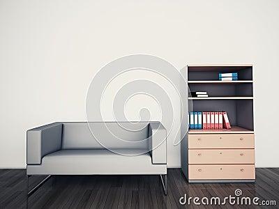 Oficina interior moderna mínima del sofá