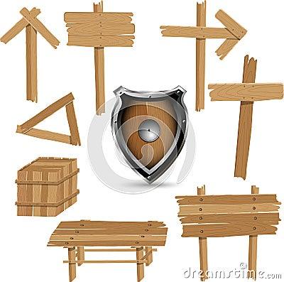 Insieme degli oggetti di legno della varia annata lorda.