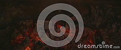 Ogień za brudnym szkłem w kominku zbiory wideo