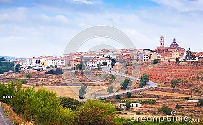 Ogólny widok Sarrion w prowinci Teruel