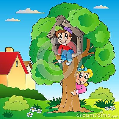 Ogród żartuje drzewa dwa
