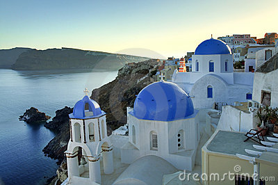 Oia blue dome church in Santorini Island, Greece