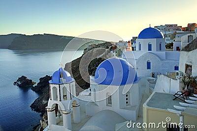 Oia blue dome church in Santorini Island, Greece