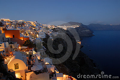 Oia at dusk, Santorini, Greece