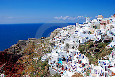 Oia on Santorini Island, Greece - blue sky, church