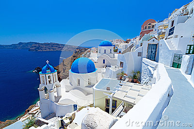 Oia town on Santorini island withe Church Cupolas