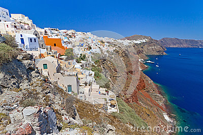 Oia town on volcanic Santorini island