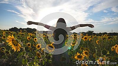 Oigenkännligt flickaanseende på gult solrosfält och lyftahänder Ung härlig kvinna i klänning som tycker om sommar