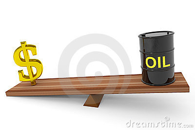 Oil barrel and dollar sing on a scales.