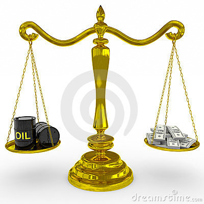 Oil barrel and dollars sing on a golden scales.