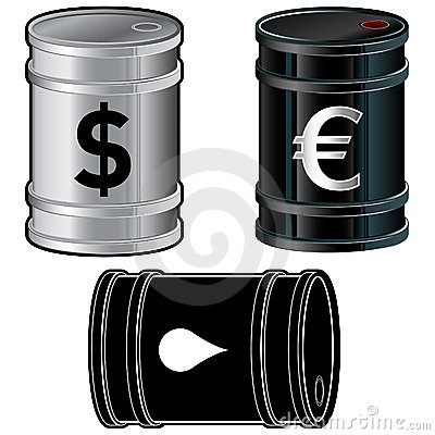 Oil barrels with currency symbols