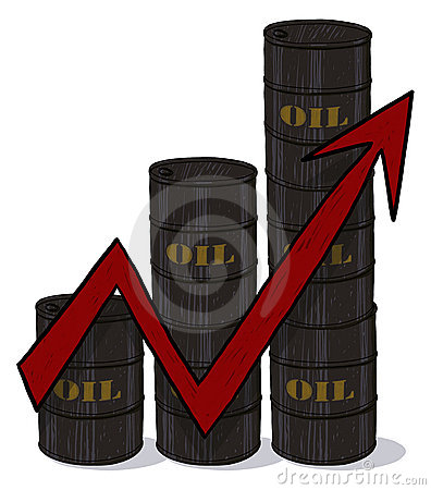 Oil barrels and red arrow illustration