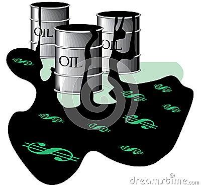 Oil barrels in spill