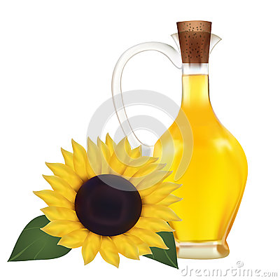 Oil in a bottle and sunflower