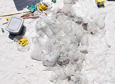 Oil collected on Pensacola Beach Editorial Stock Image