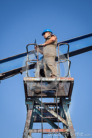 Oil company worker on the well