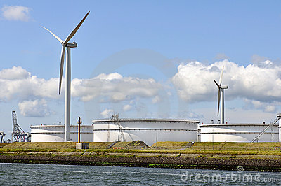 Oil depot with wind turbines