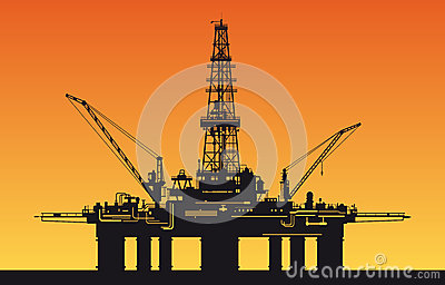 Oil Derrick In Sea Stock Photography - Image: 25424522