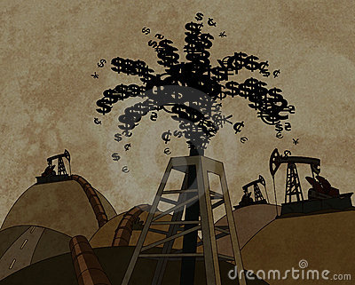 Oil derrick throwing out money