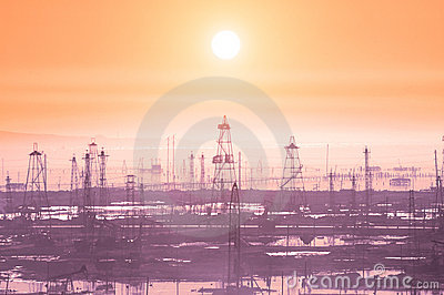 Oil derricks on early morning