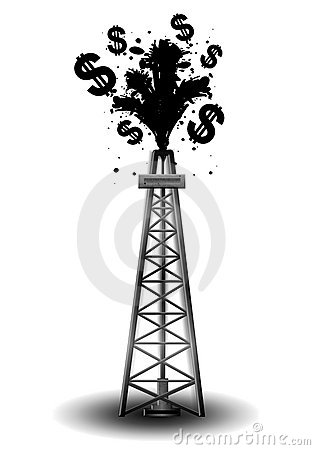 An illustration featuring an oil drilling rig with black crude and ...