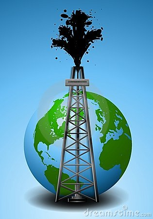 Oil Drilling Rig and Earth