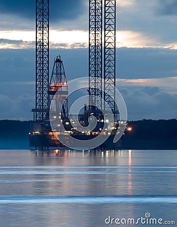 Oil Exploration Rig at Dawn