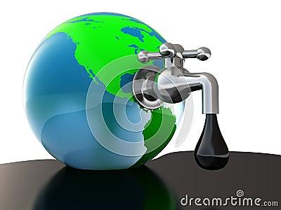 Oil faucet in earth globe