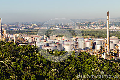 Oil Fuel Refinery Tanks Editorial Stock Image