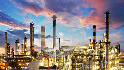 Oil and gas industry - refinery at twilight - factory - petroche