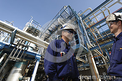 Oil and gas workers, industry and refinery