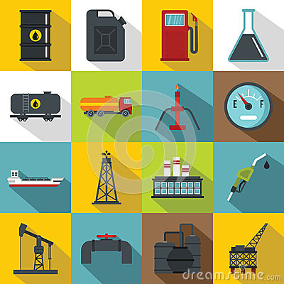 Free Oil Industry Items Icons Set, Flat Style Royalty Free Stock Image - 85897566
