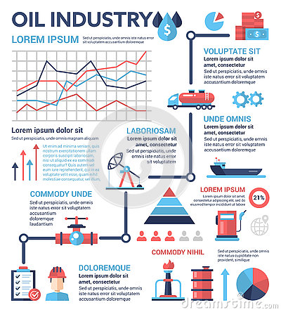 Oil Industry - poster, brochure cover template Vector Illustration
