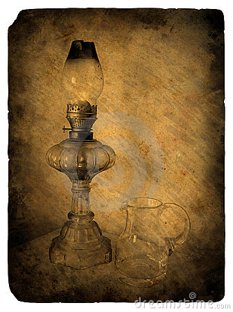 Oil lamp. Old postcard.