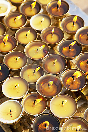Oil Lamps at Boudhanath, Nepal