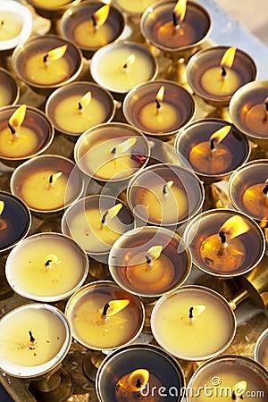 Oil Lamps at Boudhanath, Nepal